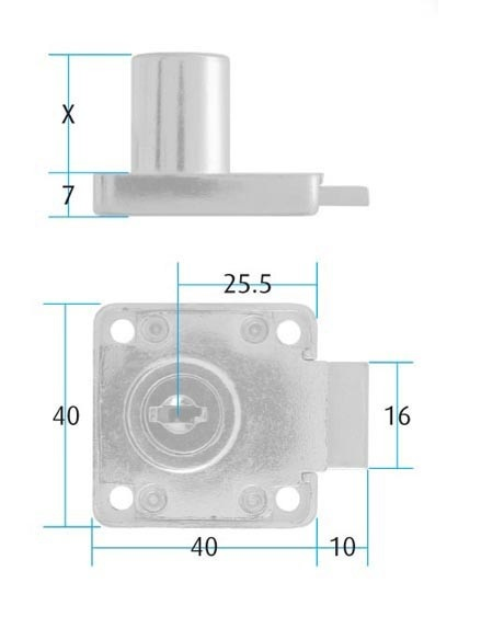 Square Cupboard Lock Differ 19x22mm (Dimensions)