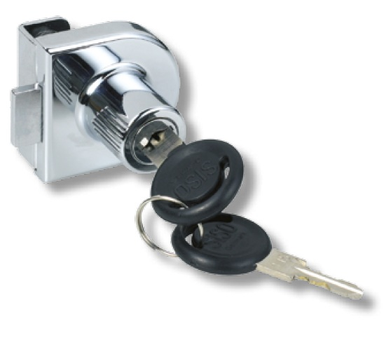Hinged Single Glass Door Lock Keyed to Differ Chrome Plated Hinged Single Glass Door Lock Keyed to Differ Chrome Plated Measurements Dimensions:  40mm x 40mm  Backset:  20mm Glass thickness:  6mm Keyed to differ with 200 key combinations Non mastered No boring required Finish:  Chrome Plated Manufactured by Siso   Hinged Single Glass Door Lock Keyed to Differ Chrome Plated Description The Hinged Glass Door Lock is suitable for use in cabinets and cupboards where a lock is required for the hinged glass door and can be fitted to either the top, bottom or side edges of the door.  The key can be withdrawn in either position.  When the key is turned the bolt moves out securing the door.  The bolt can be located into or behind a Striker (supplied).  It can also be located into a hole in the cabinet.  No boring is required with the lock as it is secured to the glass door with two screws with rubber buffers.