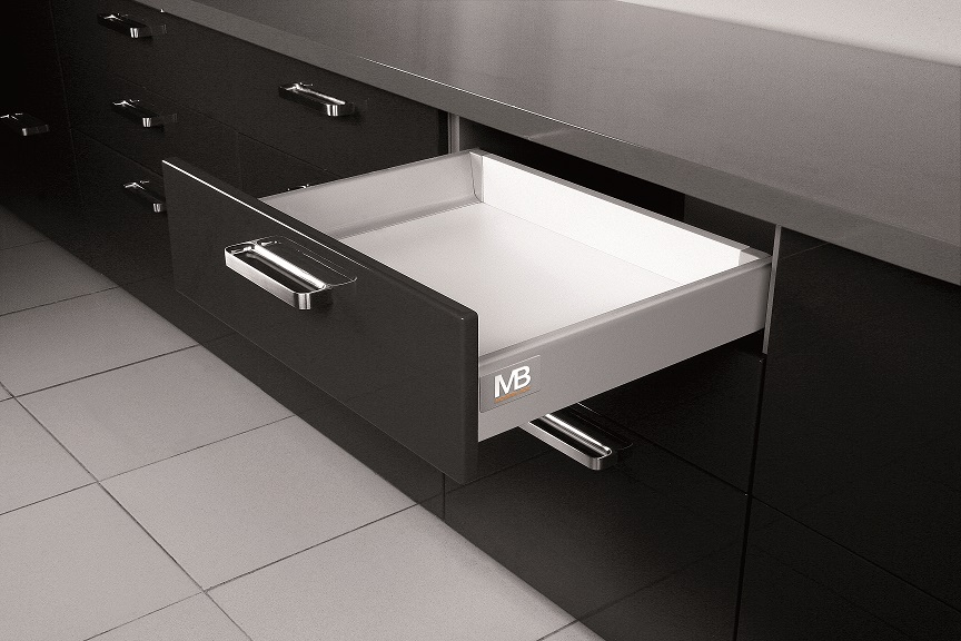 "Grey GTV 300mm x 84mm Modern Drawer Box System  Grey 300mm Modern Drawer Box System Measurements Height: 84mm Length: 300mm Soft close drawer slides Max weight:  40kg Colour: Grey Simply provide the back, front and drawer bottom to complete your drawer Grey GTV 300mm Modern Drawer Box System Description Designed and manufactured by GTV this ""all in one box"" provides a simple solution for replacement or new drawers. In each box there is a set of soft close drawer runners, twin walled sides and front connectors. By simply adding a rear panel and base and utilising your existing drawer front the system is ready to install. Available in 3 different heights by way of parallel bars you can mix and match to suit your requirements. Also available to compliment the range are a corner cabinet, under oven and under sink version all with built in soft close drawer runners. Accessories available to maximise your storage within the drawers include knife block, cutlery tray & foil dispenser."