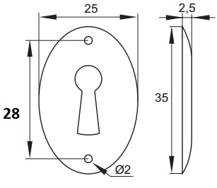 Oval Bronze Escutcheon Oval Bronze Escutcheon Measurements Dimensions:  25mm x 35mm  Pin holes:  2mm diameter Finish:  Bronze   Oval Bronze Escutcheon Description The Oval Bronze Escutcheon is used to finish off the keyhole on the front of the door.  Suitable for use in conjunction with Euro Bit Keys and the relevant locks.
