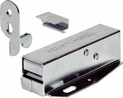 Auto Tutch Latch Colour: Zinc Plated Material: Steel Screws supplied For use with un-sprung hinges only Auto tutch latch or push to open latch are used on heavier doors or loft hatches. The door or hatch is automatically opened by pushing the door and activating the release spring in the latch. Push the door to close it again and the latch will hold it closed.