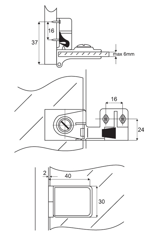 Glass Door Centre Hinge / LH (Dimensions)