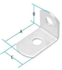 Black Medium 2 Hole Angle Bracket Black Medium 2 Hole Angle Bracket Details  Pack size = 10pcs Finish : Black A=25mm B=19mm C=16mm Screw Size – 5mm Pan WHILST STOCKS LAST