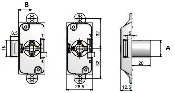 MLM Lehmann 20mm Backset Rim Lock Housing MLM Lehmann 20mm Backset Rim Lock Housing Measurements Nozzle Diameter 16.5mm (A) Requires a 16.5mm cylinder HERE Backset: 20mm (B) Finish: Nickel Plated Material: Steel Manufactured by MLM Lehmann   MLM Lehmann 20mm Backset Rim Lock Housing Description Rim lock housing is a standard lock used on cabinet doors and can be used either right or left handed by way of a toggle on the side of the lock. A turn of the key will push the latch horizontally and can lock into a slotted striker or directly into the frame. Key is retained within the lock when it's open. Supplied as a housing only and is compatible with all of the MLM Lehmann's 16.5mm cylinders as well as the range of furniture handles. MLM Lehmann housings are available in many different formats so whether you are looking for cam locks, drawer locks, espagnolette locks & glass door locks amongst others then MLM Lehmann's housings are an ideal choice. All the housings are available with a barrel diameter of 16.5mm or 18mm with corresponding cylinders to match.