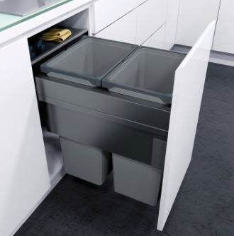 ENVI Space Pull Out Waste Bin (450mm) 450mm Pull Out Waste Bin Measurements Cabinet Width: 450mm Minimum Cabinet Depth: 480mm Minimum Installation Height: 580mm Lava grey coated steel side panels, lid & frame housing with grey plastic bins Bins Included: 2 x 32 litres About ENVI Space 450mm Pull Out Waste Bins ENVI Space pull out waste bins feature a set of soft closing side fixed drawer runners and drawer front connectors. Suitable for either 16mm or 18/19mm board thickness. The bins can be withdrawn from the unit while the lid remains in place. Delivery of this item is 2-3 days.